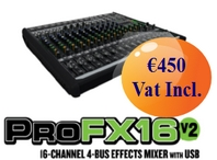 ProFX16v2 16-Channel 4-Bus Effects Mixer with USB